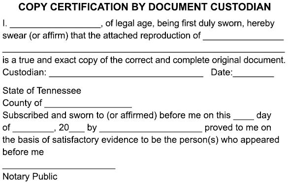 custodian document copy certification certificate notary